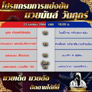 โปรแกรมการแข่งขันมวยไทย